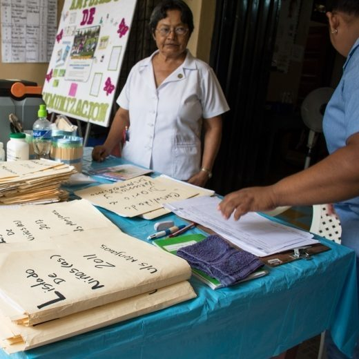 Participants providing information at a health fair.