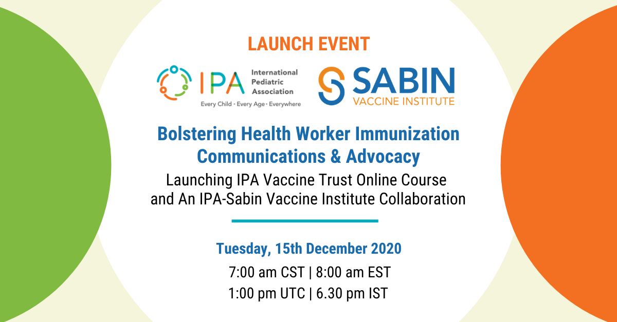 Flyer for IPA-Sabin partnership launch event.